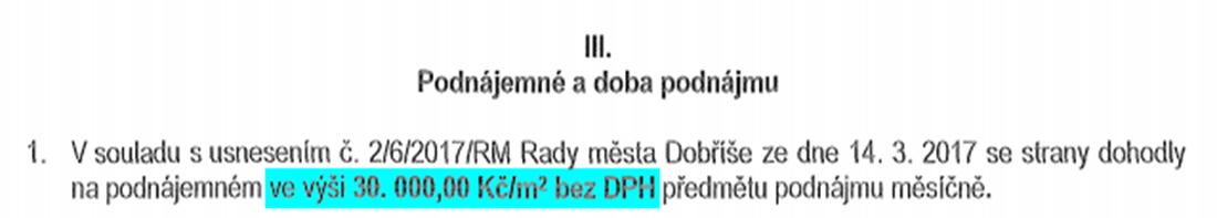 Výňatek smlouvy mezi městem Dobříš a společností DOKAS Dobříš, s. r. o. I zdroj: Registr smluv