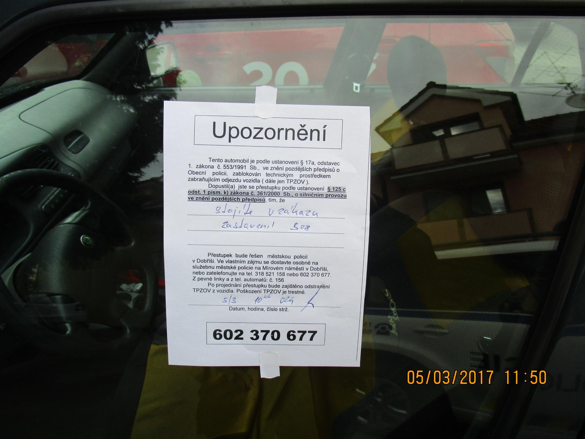 Upozornění  I  foto: MP Dobříš