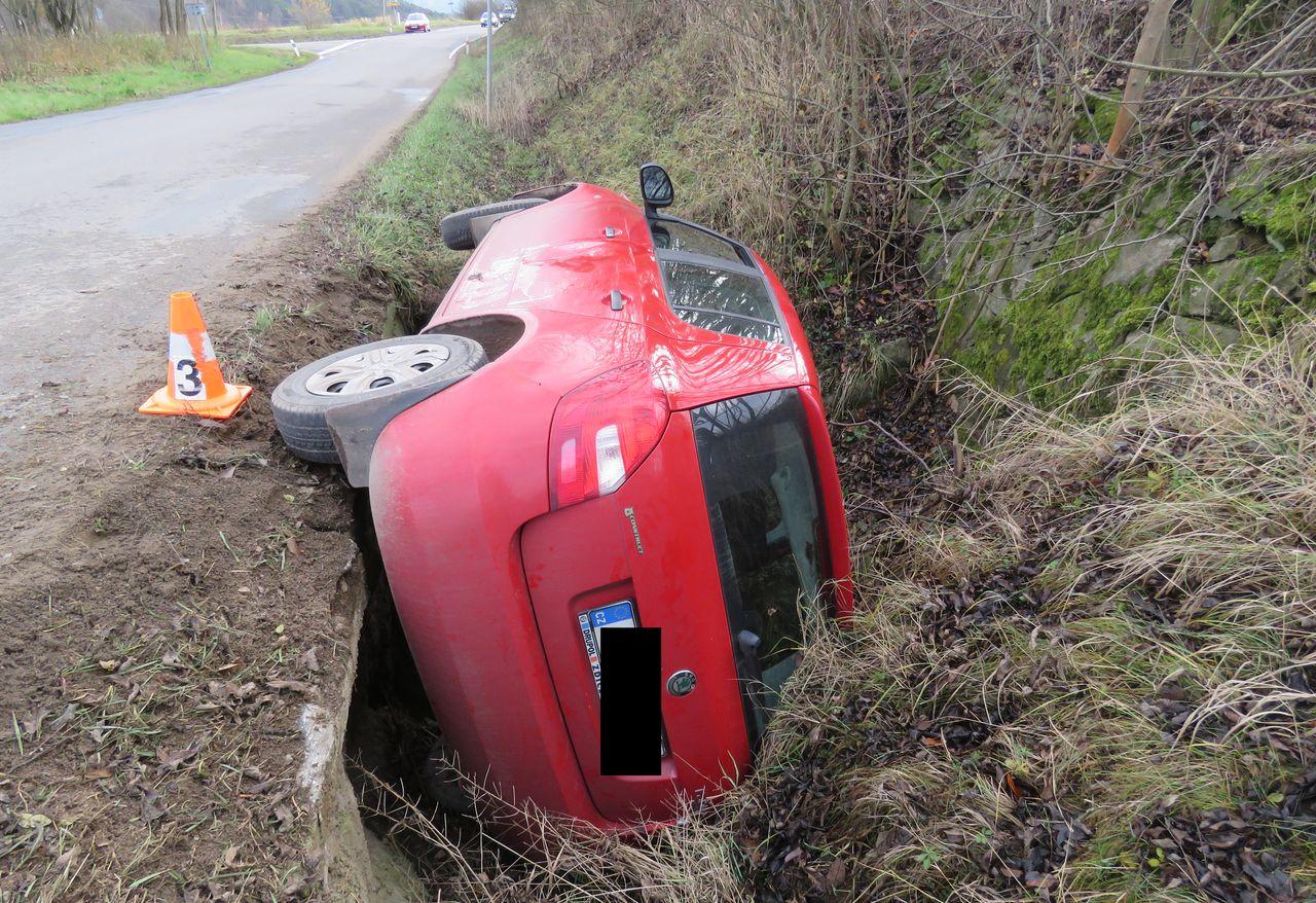 Nehoda ze dne 26. listopadu z obce Borotice, Během nehody došlo k lehkému zranění, škoda byla vyčíslena na 81 tisíc korun