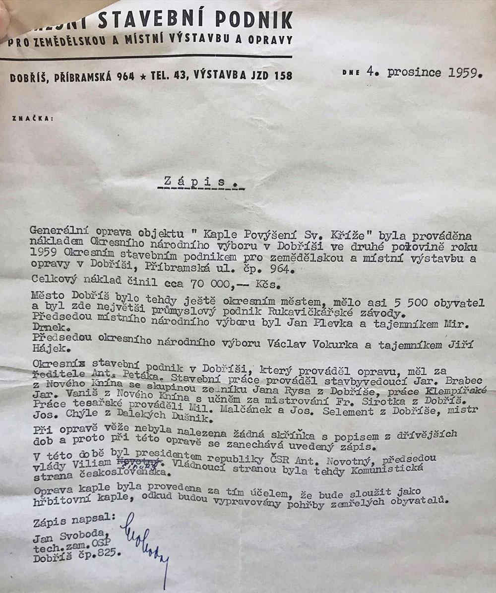 Ve věžičce byl nalezen dopis z roku 1959  I  foto: archiv města Dobříše